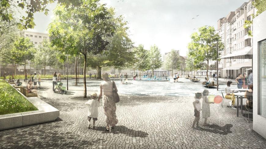 Entwurf: Franz-Neumann-Platz -  2. Preis: Franz Reschke, Landschaftsarchitektur GmbH, Berlin  - Simulation Franz Reschke,   Senatsverwaltung für Stadtentwicklung und Wohnen